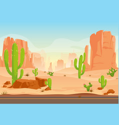 Texas desert landscape with cactuses road mountain vector
