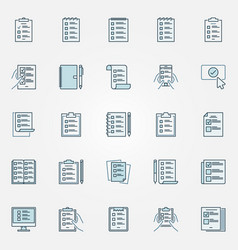 to do list blue icons set - checklist vector image