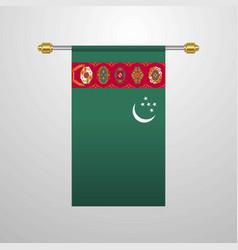 Turkmenistan hanging flag vector