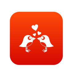 two birds with hearts icon digital red vector image
