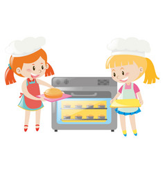 Two girls baking pie in oven vector
