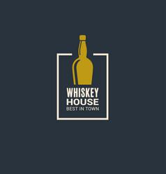 whiskey bottle logo house icon on blue vector image
