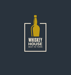 whiskey bottle logo whiskey house icon on blue vector image