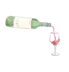 Wine pouring into a glass vector