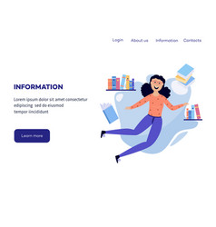 woman in information surroundings - cartoon female vector image
