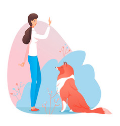 Woman pet owner trainer give command dog to sit vector