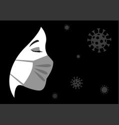 woman wearing medical mask vector image