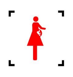 women and baby sign red icon inside black vector image