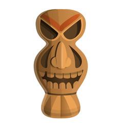 Wood tribal idol icon cartoon style vector