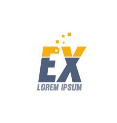 Yellow blue ex e x alphabet letter logo company vector