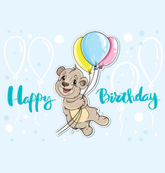 bear with balloons card happy birthday vector image vector image