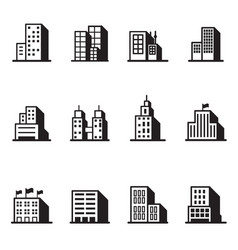 building silhouette icons symbol set vector image vector image