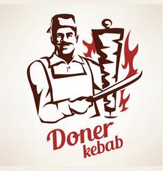 doner kebab outlined symbol in vintage style vector image