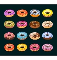 donut icon set vector image