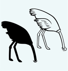 Ostrich burying its head in sand vector