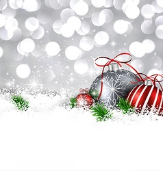 Silver winter background with christmas balls vector image vector image