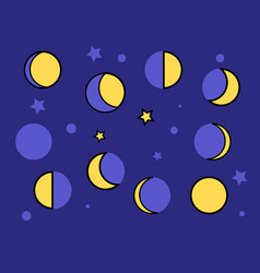 Yellow moon phases on a dark blue background vector