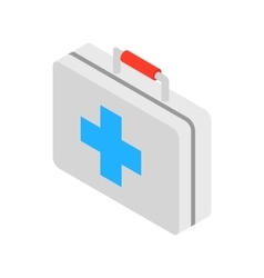 Medicine chest with blue cross icon vector image