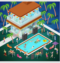 outdoor swimming pool party isometric vector image vector image