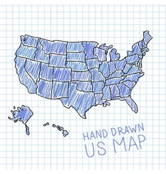 Pen drawn USA map on lined paper vector image