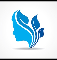 Beautiful woman silhouette with leaf stock vector image vector image