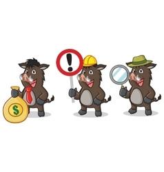 Dark Brown Wild Pig Mascot with money vector image