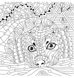 dog zentangle styled with clean lines for coloring vector image vector image
