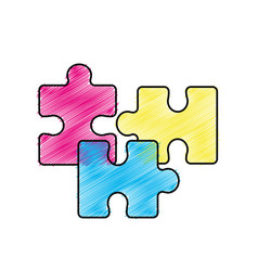 edge color parts puzzle mental game vector image vector image