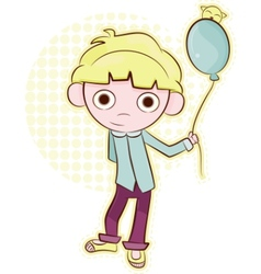 friendly little boy with balloon vector image vector image