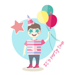 little boy with balloons having fun vector image