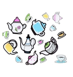 set of hand drawn cups and teapots on white vector image