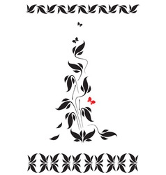vignette with floral pattern and butterflies vector image