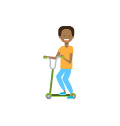 African young boy riding kick scooter over white vector