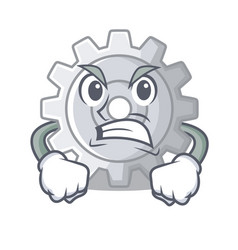 angry gear settings mechanism on mascot shape vector image