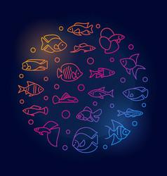 Aquarium fish round colored in vector