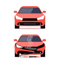 Auto accident crash repair damage car view vector