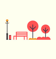 autumn season empty bench red color trees lamp vector image
