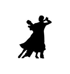 ballroom dancing black silhouette pair vector image