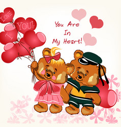 beautiful valentines day card with couple bears vector image