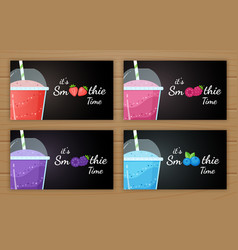 berry smoothie logo vitamin drink set vector image
