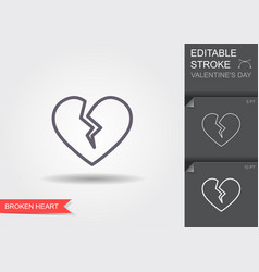 Broken heart line icon with editable stroke with vector