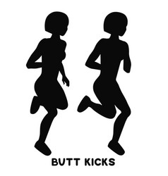 butt kicks sport exersice silhouettes of woman vector image