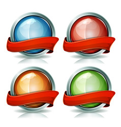 buttons and badges with ribbons vector image