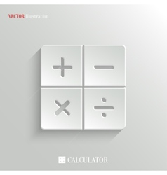 Calculator icon - white app button vector