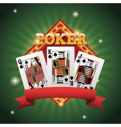 Cards of Poker inside frame design vector image