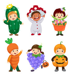 cartoon cute kids in plant costumes set vector image