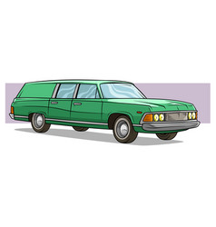 cartoon green long retro car icon vector image