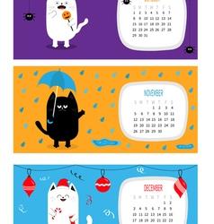 Cat calendar 2017 horizontal Cute funny cartoon vector image
