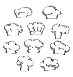 Chef and baker hats or toques sketches vector