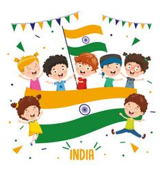 children holding india flag vector image
